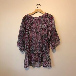 Chico's abstract print sheer top size 1